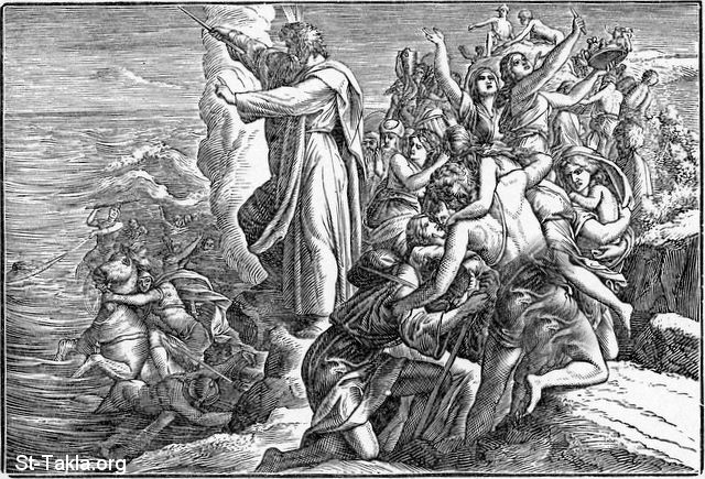 St-Takla.org Image: Crossing the Red Sea - Pharaoh's army Destroyed in the Red Sea: Exodus 14:30-31 ���� �� ���� ������ ����: ���� ����� ������ - ��� ����� �������� �� ����� ������: ���� 14: 30-31
