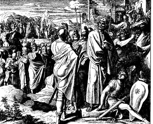 St-Takla.org Image: Jeroboam Petitions - Rehoboam causes a revolt (I Kings 12:16-17) ���� �� ���� ������ ����: �������� �� ��� ������� ��� ������ ����� ����� (���� ����� 12: 16� 17)