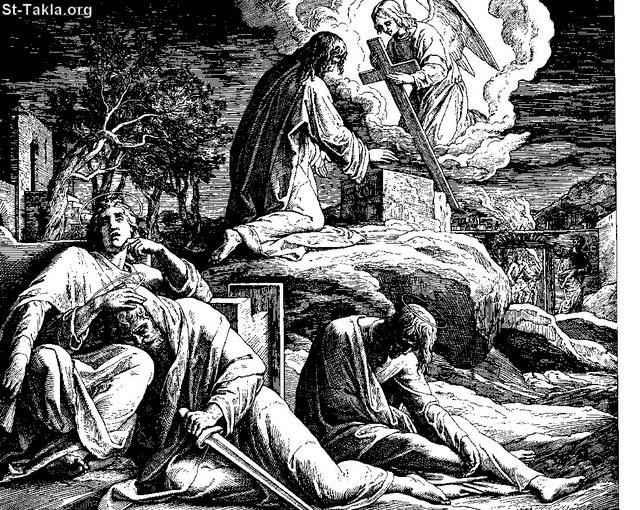 St-Takla.org Image: Jesus in Gethsemane , and the disciples are sleeping, with the angel and the cup (cross) - by Julius Schnorr von Carolsfeld ���� �� ���� ������ ����: ����� ������ ���� �� ����� �������� � �������� ���� ���� ������ ������� �� ����� - ��� ������ ������ ���� ��� ���������