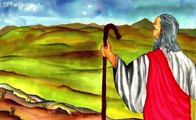 "St-Takla.org Image: Moses Views the Promised Land - illustration from ""Communicating Christ"" book, Bogota, Colombia ���� �� ���� ������ ����: ���� ���� ��� ��� ������- �� ��� ���� ����� �����͡ �����ǡ ��������"