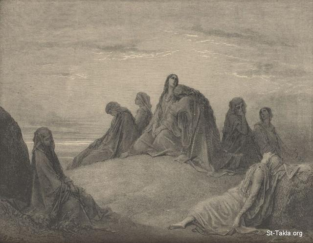 Image: Jephthah's daughter and her companions, Paul Gustave Doré 's Bible Illustrations, 024 صورة إبنة يفتاح وأصحابها، جوستاف دوريه