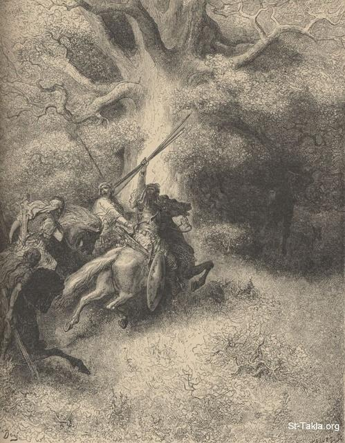 Image: The death of Absalom, Paul Gustave Doré 's Bible Illustrations, 034 صورة موت أبشاولوم، جوستاف دوريه