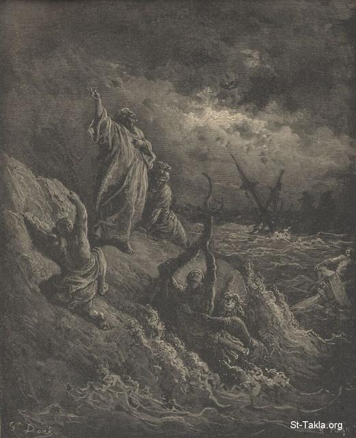 Image: Paul's shipwreck, Paul Gustave Doré 's Bible Illustrations, 099 صورة انكسار السفينة ببولس