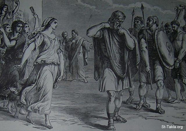 Image: Jephthah met by his daughter