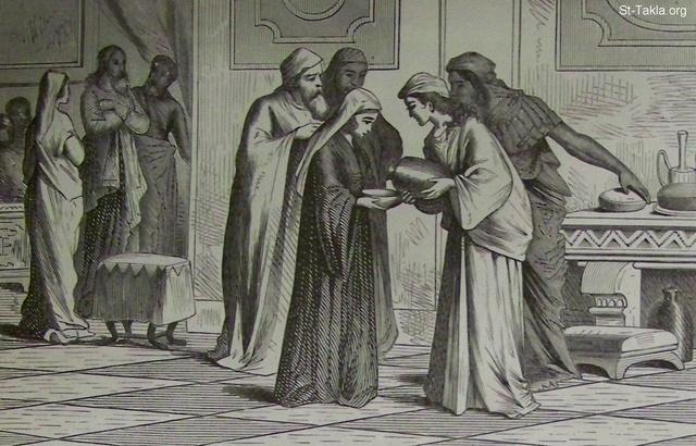 "St-Takla.org Image: The First miracle by Jesus Christ (the wedding at Cana), turning water into wine - from the ""Holman Bible"", 1890 ���� �� ���� ������ ����: ����� ����� ������ ���� ������ �� ���� ���� ������ (�����): ����� ����� ��� ��� - �� ��� ""����� ������""� 1890"