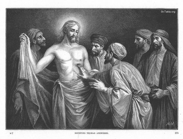 "St-Takla.org Image: Doubting Thomas answered - from ""Illustrations of the Life of Christ"", ""From Christ in Art""; & ""The Gospel Life of Jesus"", artwork by Alexandre Bida, publisher: Edward Eggleston, New York: Fords, Howard, & Hulbert, 1874 ���� �� ���� ������ ����: ���� ��� �� ���� �� ����� ������ - �� ��� ""���� ������ �������""� ""�� ������ �� ����""� �""������ ��������� �����""� ������ ��������� ���ǡ ����� ������ �������� �������: ����ҡ ����� �������ʡ 1874"