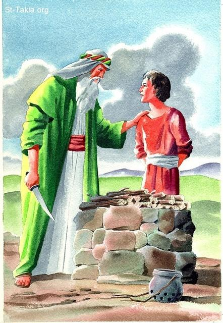"St-Takla.org Image: Abraham makes his son Issac a burnt offering to the Lord. - The Lord wanted to test the faith of Abraham saying, ""Take now your son, your only son Isaac, whom you love, and go to the land of Moriah, and offer him there as a burnt offering on one of the mountains of which I shall tell you."" (Geneses 22: 2) - Bible Clip Arts from NHP صورة في موقع الأنبا تكلا: إبراهيم يقدم ابنه اسحق محرقة للرب - أراد الرب أن يختبر إيمان أبونا إبراهيم فقال له: ""خُذِ ابْنَكَ وَحِيدَكَ، الَّذِي تُحِبُّهُ، إِسْحَاقَ، وَاذْهَبْ إِلَى أَرْضِ الْمُرِيَّا، وَأَصْعِدْهُ هُنَاكَ مُحْرَقَةً عَلَى أَحَدِ الْجِبَالِ الَّذِي أَقُولُ لَكَ"" (سفر التكوين 22: 2) - صور الإنجيل من إن إتش بي"