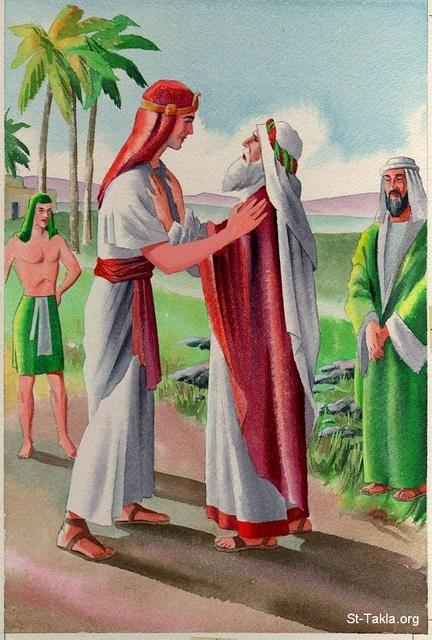 St-Takla.org Image: Joseph meets his father Jacob (Israel) ���� �� ���� ������ ����: ���� ���� ����� ����� (�������)