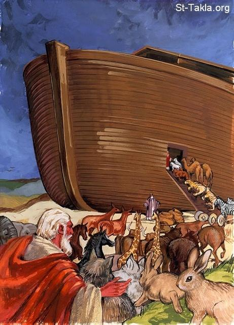 "St-Takla.org Image: Entering Noah's ark - ""Noah was six hundred years old when the floodwaters were on the earth. So Noah, with his sons, his wife, and his sons' wives, went into the ark because of the waters of the flood. Of clean animals, of animals that are unclean, of birds, and of everything that creeps on the earth, two by two they went into two by two they went into the ark to Noah, male and female, as God had commanded Noah."" (Genesis 7:6-9) - Bible Clip Arts from NHP صورة في موقع الأنبا تكلا: الدخول إلى فلك نوح - ""وَلَمَّا كَانَ نُوحٌ ابْنَ سِتِّ مِئَةِ سَنَةٍ صَارَ طُوفَانُ الْمَاءِ عَلَى الأَرْضِ، فَدَخَلَ نُوحٌ وَبَنُوهُ وَامْرَأَتُهُ وَنِسَاءُ بَنِيهِ مَعَهُ إِلَى الْفُلْكِ مِنْ وَجْهِ مِيَاهِ الطُّوفَانِ. وَمِنَ الْبَهَائِمِ الطَّاهِرَةِ وَالْبَهَائِمِ الَّتِي لَيْسَتْ بِطَاهِرَةٍ، وَمِنَ الطُّيُورِ وَكُلِّ مَا يَدِبُّ عَلَى الأَرْضِ: دَخَلَ اثْنَانِ اثْنَانِ إِلَى نُوحٍ إِلَى الْفُلْكِ، ذَكَرًا وَأُنْثَى، كَمَا أَمَرَ اللهُ نُوحًا"" (سفر التكوين 7: 6-9) - صور الإنجيل من إن إتش بي"