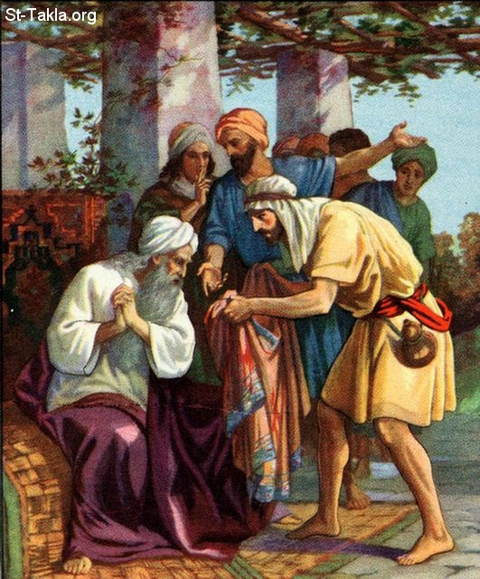 St-Takla.org Image: Jacob is told that a cloak was found, and Joseph his son is missing: Genesis 37:31-33 ���� �� ���� ������ ����: ����� ����� ������� ����� ����� ���� ����� ���� ������ �������: ������� 34: 31-33