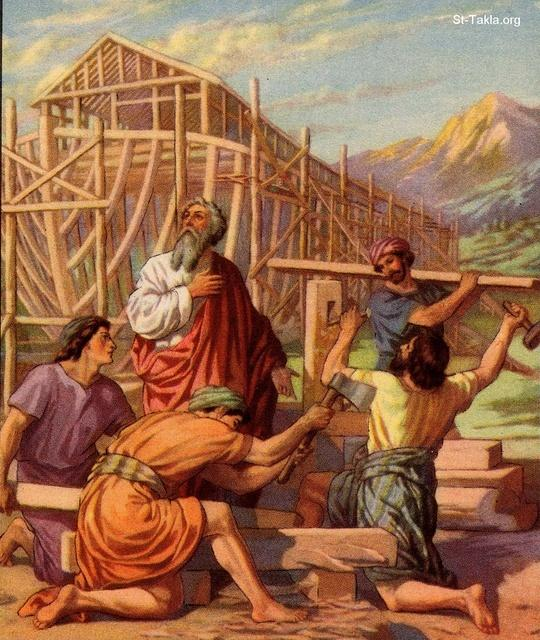 St-Takla.org Image: Noah and his sons built an ark - Genesis 6:13-22 ���� �� ���� ������ ����: ��� ������� ����� ����� - ����� 6: 13-22