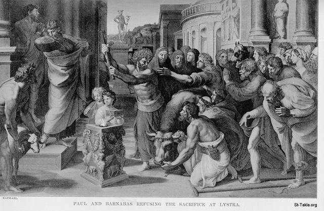 St-Takla.org Image: Paul and Barnabas refuse worship and the sacrifice at Lystra ���� �� ���� ������ ����: ���� ������� ������ ���� ������� �������� �� �����