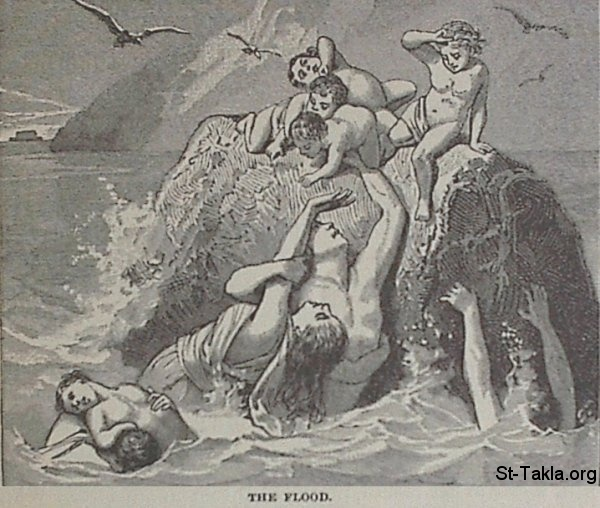 "St-Takla.org Image: The Flood - from ""The Story of the Bible"". book by Charles Foster, Drawings by F.B. Schell and others, 1873 صورة في موقع الأنبا تكلا: الطوفان - من كتاب ""قصة الإنجيل""، إصدار تشارلز فوستر، رسم ف. ب. شيل وآخرون"