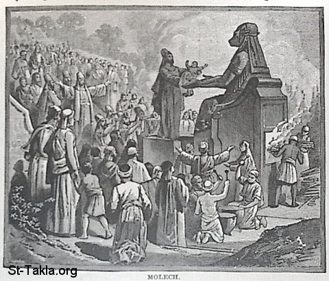 "St-Takla.org Image: Molech the God - from ""The Story of the Bible"". book by Charles Foster, Drawings by F.B. Schell and others, 1873 صورة في موقع الأنبا تكلا: الإله ملكوم - مولك - من كتاب ""قصة الإنجيل""، إصدار تشارلز فوستر، رسم ف. ب. شيل وآخرون"
