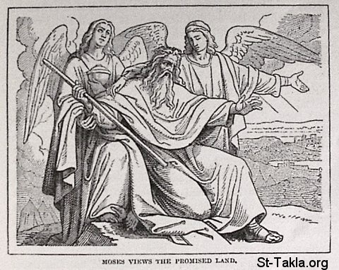 "St-Takla.org Image: Moses views the Promised Land - from ""The Story of the Bible"". book by Charles Foster, Drawings by F.B. Schell and others, 1873 صورة في موقع الأنبا تكلا: موسى ينظر أرض الموعد - من كتاب ""قصة الإنجيل""، إصدار تشارلز فوستر، رسم ف. ب. شيل وآخرون"