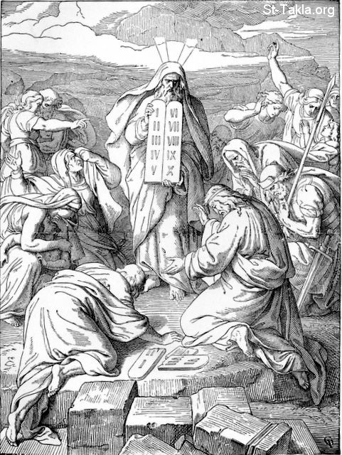 "St-Takla.org Image: Moses brings a second copy of the Stone Tablets - from ""Treasures of the Bible"" book, by Henry Davenport Northrop, D.D., 1894 صورة في موقع الأنبا تكلا: موسى يحضر نسخة أخرى من لوحي الشريعة - من كتاب ""كنوز الإنجيل""، لـ هنري دافينبورت نورثروب، د. د.، 1894"