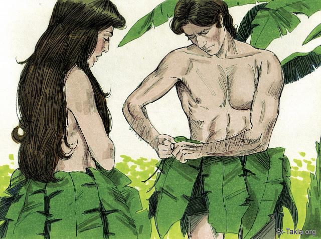 "St-Takla.org Image: Immediately they realized they were naked. So they sewed fig leaves together and made coverings for themselves. (Genesis 3: 7) - ""Adam and eve disobey god"" images set (Genesis 3): image (6) - Genesis, Bible illustrations by James Padgett (1931-2009), published by Sweet Media صورة في موقع الأنبا تكلا: ""فانفتحت أعينهما وعلما أنهما عريانان. فخاطا أوراق تين وصنعا لأنفسهما مآزر"" (التكوين 3: 7) - مجموعة ""آدم وحواء يعصيان وصية الله"" (التكوين 3) - صورة (6) - صور سفر التكوين، رسم جيمز بادجيت (1931-2009)، إصدار شركة سويت ميديا"