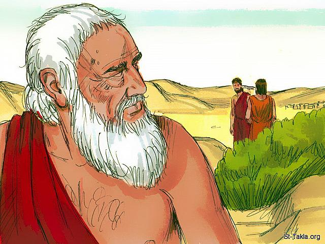 "St-Takla.org Image: Two of the men started walking towards Sodom. Abraham was concerned as he knew his nephew Lot and his family were living in Sodom. (Genesis 18: 22) - ""Abraham and the three strangers"" images set (Genesis 18): image (11) - Genesis, Bible illustrations by James Padgett (1931-2009), published by Sweet Media صورة في موقع الأنبا تكلا: ""وانصرف الرجال من هناك وذهبوا نحو سدوم"" (التكوين 18: 22) - مجموعة ""إبراهيم والغرباء الثلاثة"" (التكوين 18) - صورة (11) - صور سفر التكوين، رسم جيمز بادجيت (1931-2009)، إصدار شركة سويت ميديا"