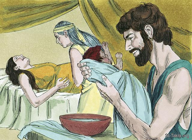 "St-Takla.org Image: When the time came for her to give birth, she had twin boys. The first to come out was red, and his whole body was hairy, so they named him Esau. (Genesis 25: 24-25) - ""Esau sells his birthright to Jacob"" images set (Genesis 25:19-34): image (4) - Genesis, Bible illustrations by James Padgett (1931-2009), published by Sweet Media صورة في موقع الأنبا تكلا: ""فلما كملت أيامها لتلد إذا في بطنها توأمان. فخرج ألأول أحمر، كله كفروة شعر، فدعوا اسمه «عيسو»"" (التكوين 25: 24-25) - مجموعة ""عيسو يبيع البكورية لأخيه يعقوب"" (التكوين 25: 19-34) - صورة (4) - صور سفر التكوين، رسم جيمز بادجيت (1931-2009)، إصدار شركة سويت ميديا"