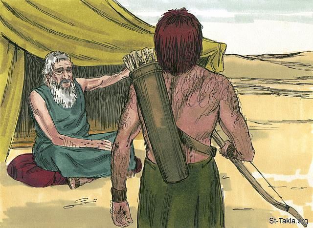 "St-Takla.org Image: Isaac called his oldest son Esau and said, 'I am now an old man and close to death. Get your quiver and bow and hunt some wild game for me. Prepare a meal just as I like it, so that I may give you my blessing before I die.' (Genesis 27: 1-4) - ""Jacob deceives Isaac"" images set (Genesis 27:1 - Genesis 28:5): image (2) - Genesis, Bible illustrations by James Padgett (1931-2009), published by Sweet Media صورة في موقع الأنبا تكلا: ""أنه دعا عيسو ابنه الأكبر وقال له: «يا ابني». فقال له: «هأنذا». فقال: «إنني قد شخت ولست أعرف يوم وفاتي. فالآن خذ عدتك: جعبتك وقوسك، واخرج إلى البرية وتصيد لي صيدا، واصنع لي أطعمة كما أحب، وأتني بها لآكل حتى تباركك نفسي قبل أن أموت»"" (التكوين 27: 1-4) - مجموعة ""يعقوب يخدع إسحاق أبيه (إسحق)"" (التكوين 27: 1 - التكوين 28: 5) - صورة (2) - صور سفر التكوين، رسم جيمز بادجيت (1931-2009)، إصدار شركة سويت ميديا"