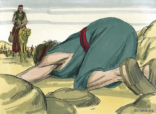 "St-Takla.org Image: Then he went on ahead and bowed down to the ground seven times as he approached his brother. (Genesis 33: 3) - ""Jacob and Esau are reunited"" images set (Genesis 32:1 - Genesis 35:28): image (12) - Genesis, Bible illustrations by James Padgett (1931-2009), published by Sweet Media صورة في موقع الأنبا تكلا: ""وأما هو فاجتاز قدامهم وسجد إلى الأرض سبع مرات حتى اقترب إلى أخيه"" (التكوين 33: 3) - مجموعة ""يعقوب يتقابل مع عيسو مرة أخرى"" (التكوين 32: 1 - التكوين 35: 28) - صورة (12) - صور سفر التكوين، رسم جيمز بادجيت (1931-2009)، إصدار شركة سويت ميديا"