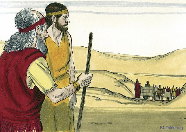 "St-Takla.org Image: When Jacob heard that grain was available in Egypt, he said to his sons, 'Go and buy enough grain to keep us alive. Otherwise we'll die.' But Jacob wouldn't let Joseph's younger brother, Benjamin, go with them, fearing some harm might come to him. (Genesis 42: 2-4) - ""Joseph's brothers visit Egypt"" images set (Genesis 42:1-38): image (1) - Genesis, Bible illustrations by James Padgett (1931-2009), published by Sweet Media صورة في موقع الأنبا تكلا: ""وقال «إني قد سمعت أنه يوجد قمح في مصر. انزلوا إلى هناك واشتروا لنا من هناك لنحيا ولا نموت». فنزل عشرة من إخوة يوسف ليشتروا قمحا من مصر. وأما بنيامين أخو يوسف فلم يرسله يعقوب مع إخوته، لأنه قال: «لعله تصيبه أذية»"" (التكوين 42: 2-4) - مجموعة ""أخوة يوسف يسافرون إلى مصر"" (التكوين 42: 1-38) - صورة (1) - صور سفر التكوين، رسم جيمز بادجيت (1931-2009)، إصدار شركة سويت ميديا"