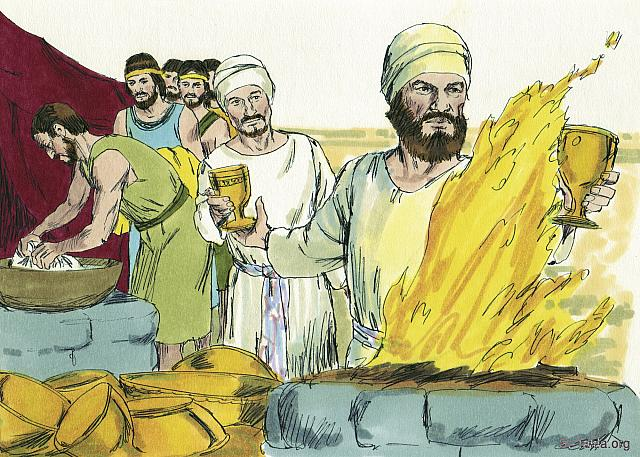 "St-Takla.org Image: ""All the gold that was used in all the work of the holy place, that is, the gold of the offering, was twenty-nine talents and seven hundred and thirty shekels, according to the shekel of the sanctuary"" (Exodus 38: 24) - Exodus, Bible illustrations by James Padgett (1931-2009), published by Sweet Media صورة في موقع الأنبا تكلا: ""كل الذهب المصنوع للعمل في جميع عمل المقدس، وهو ذهب التقدمة: تسع وعشرون وزنة وسبع مئة شاقل وثلاثون شاقلا بشاقل المقدس"" (الخروج 38: 24) - صور سفر الخروج، رسم جيمز بادجيت (1931-2009)، إصدار شركة سويت ميديا"