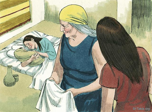 "St-Takla.org Image: The two midwives who helped Hebrew women deliver their babies were called Shiphrah and Puah. (Exodus 1: 15) - ""Baby Moses"" images set (Exodus 1:8 - Exodus 2:10): image (8) - Exodus, Bible illustrations by James Padgett (1931-2009), published by Sweet Media صورة في موقع الأنبا تكلا: ""وكلم ملك مصر قابلتي العبرانيات اللتين اسم إحداهما شفرة واسم الأخرى فوعة"" (الخروج 1: 15) - مجموعة ""الطفل موسى"" (الخروج 1: 8 - الخروج 2: 10) - صورة (8) - صور سفر الخروج، رسم جيمز بادجيت (1931-2009)، إصدار شركة سويت ميديا"