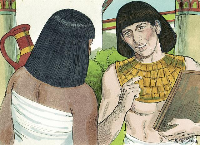 "St-Takla.org Image: Moses grew up as a prince in Egypt. (Exodus 2: 11) - ""Moses prince of Egypt"" images set (Exodus 2:11-23): image (1) - Exodus, Bible illustrations by James Padgett (1931-2009), published by Sweet Media صورة في موقع الأنبا تكلا: وكبر موسى وأصبح من أمراء مصر (الخروج 2: 11) - مجموعة ""موسى أمير مصر"" (الخروج 2: 11-23) - صورة (1) - صور سفر الخروج، رسم جيمز بادجيت (1931-2009)، إصدار شركة سويت ميديا"