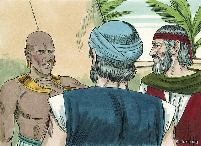 St-Takla.org Image: Moses and Aaron with an Egyptian magician - Exodus, Bible illustrations by James Padgett (1931-2009), published by Sweet Media صورة في موقع الأنبا تكلا: موسى وهارون مع أحد سحرة المصريين - صور سفر الخروج، رسم جيمز بادجيت (1931-2009)، إصدار شركة سويت ميديا