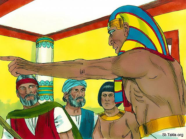 "St-Takla.org Image: Pharaoh became stubborn again, broke his promise and refused to let God's people go and worship Him. (Exodus 10: 20) - ""Moses and the ten plagues II"" images set (Exodus 10-12): image (6) - Exodus, Bible illustrations by James Padgett (1931-2009), published by Sweet Media صورة في موقع الأنبا تكلا: ""ولكن شدد الرب قلب فرعون فلم يطلق بني إسرائيل"" (الخروج 10: 20) - مجموعة ""موسى والضربات العشرة 2"" (الخروج 10-12) - صورة (6) - صور سفر الخروج، رسم جيمز بادجيت (1931-2009)، إصدار شركة سويت ميديا"