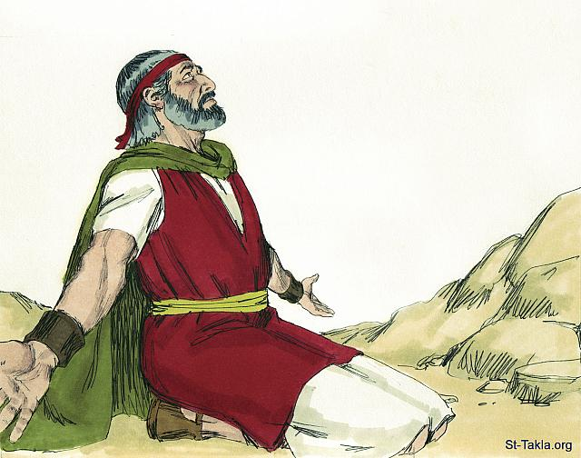 "St-Takla.org Image: Moses talking to the Lord in the mountain: ""The Lord spoke to Moses face to face, as a man speaks to his friend"" (Exodus 33: 11) - image 2 - Exodus, Bible illustrations by James Padgett (1931-2009), published by Sweet Media صورة في موقع الأنبا تكلا: موسى يتكلم مع الله: ""ويكلم الرب موسى وجها لوجه، كما يكلم الرجل صاحبه"" (الخروج 33: 11) - صورة 2 - صور سفر الخروج، رسم جيمز بادجيت (1931-2009)، إصدار شركة سويت ميديا"