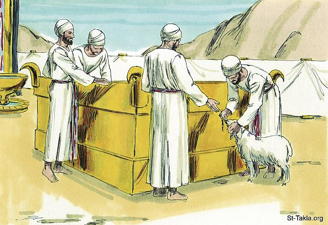 "St-Takla.org Image: The altar (Exodus 38: 1) would be used for people to bring a male animal without defect, cattle, sheep, goats (or birds if they were poor). They would put their hand on the animal to show it was being offered for them to make peace with God (Leviticus 1:4) - ""Moses and the Tabernacle"" images set (Exodus 25 - 40): image (22) - Exodus, Bible illustrations by James Padgett (1931-2009), published by Sweet Media صورة في موقع الأنبا تكلا: يُستخدم ""مذبح المحرقة"" (الخروج 38: 1) في تقديم الذبيحة بعد أن الكهنة أيديهم على رأس المحرقة للتكفير (غفران الخطايا) (اللاويين 1: 4) - مجموعة ""موسى وخيمة الاجتماع"" (الخروج 25 - 40) - صورة (22) - صور سفر الخروج، رسم جيمز بادجيت (1931-2009)، إصدار شركة سويت ميديا"