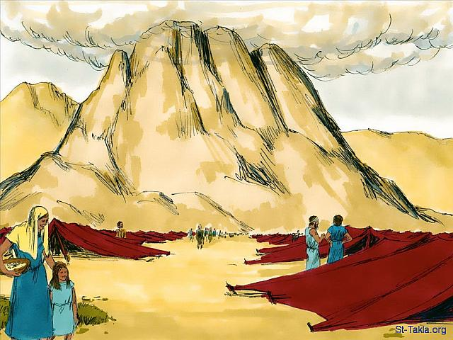 "St-Takla.org Image: Moses was on Mount Sinai for 40 days and nights and the people below wondered if he would ever come back. (Exodus 32) - ""Moses and the golden calf"" images set (Exodus 32): image (1) - Exodus, Bible illustrations by James Padgett (1931-2009), published by Sweet Media صورة في موقع الأنبا تكلا: قضى موسى فوق الجبل أربعون يومًا وليلة، واحتار الشعب في إمكانية رجوعه (الخروج 32) - مجموعة ""موسى والعجل الذهبي"" (الخروج 32) - صورة (1) - صور سفر الخروج، رسم جيمز بادجيت (1931-2009)، إصدار شركة سويت ميديا"