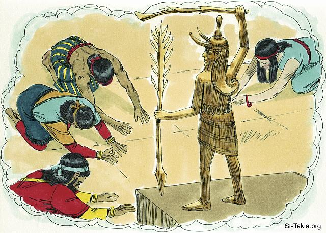 "St-Takla.org Image: ""You shall have no other gods before Me. 'You shall not make for yourself a carved image—any likeness of anything that is in heaven above, or that is in the earth beneath, or that is in the water under the earth; you shall not bow down to them nor serve them. For I, the Lord your God, am a jealous God, visiting the iniquity of the fathers upon the children to the third and fourth generations of those who hate Me.. Then it shall be, if you by any means forget the Lord your God, and follow other gods, and serve them and worship them, I testify against you this day that you shall surely perish.. Take heed to yourselves, lest your heart be deceived, and you turn aside and serve other gods and worship them.. So you shall not turn aside from any of the words which I command you this day, to the right or the left, to go after other gods to serve them.. But if your heart turns away so that you do not hear, and are drawn away, and worship other gods and serve them, I announce to you today that you shall surely perish; you shall not prolong your days in the land which you cross over the Jordan to go in and possess"" (Deuteronomy 5: 7-9; 8: 19; 11: 16; 28: 14; 30: 17-18) - Deuteronomy, Bible illustrations by James Padgett (1931-2009), published by Sweet Media صورة في موقع الأنبا تكلا: ""لا يكن لك آلهة أخرى أمامي. لا تصنع لك تمثالا منحوتا صورة ما مما في السماء من فوق وما في الأرض من أسفل وما في الماء من تحت الأرض. لا تسجد لهن ولا تعبدهن.. وإن نسيت الرب إلهك، وذهبت وراء آلهة أخرى وعبدتها وسجدت لها، أشهد عليكم اليوم أنكم تبيدون لا محالة.. فاحترزوا من أن تنغوي قلوبكم فتزيغوا وتعبدوا آلهة أخرى وتسجدوا لها.. ولا تزيغ عن جميع الكلمات التي أنا أوصيك بها اليوم يمينا أو شمالا، لكي تذهب وراء آلهة أخرى لتعبدها.. فإن انصرف قلبك ولم تسمع، بل غويت وسجدت لآلهة أخرى وعبدتها، فإني أنبئكم اليوم أنكم لا محالة تهلكون"" (التثنية 5: 7-9؛ 8: 19؛ 11: 16؛ 28: 14؛ 30: 17-18) - صور سفر التثنية، رسم جيمز بادجيت (1931-2009)، إصدار شركة سويت ميديا"