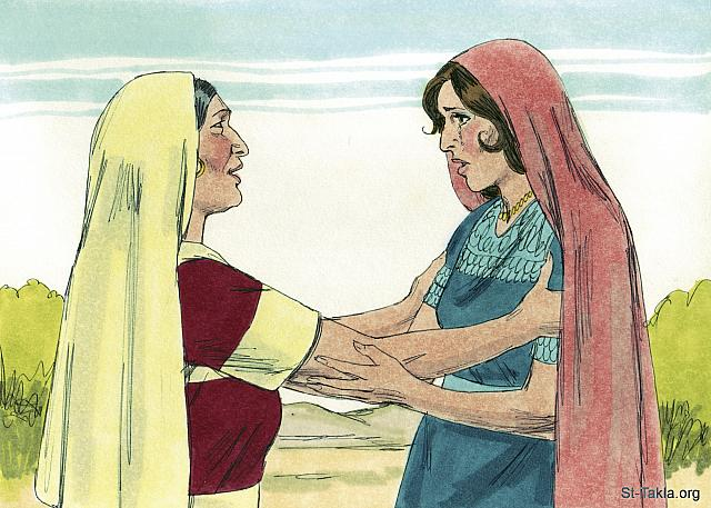 "St-Takla.org Image: 'Orpah has returned to her people and their gods,' said Naomi. 'Go back with her.' (Ruth 1: 15) - Ruth, Bible illustrations by James Padgett (1931-2009), published by Sweet Media صورة في موقع الأنبا تكلا: ""فقالت: «هوذا قد رجعت سلفتك إلى شعبها وآلهتها. ارجعي أنت وراء سلفتك»"" (راعوث 1: 15) - صور سفر راعوث، رسم جيمز بادجيت (1931-2009)، إصدار شركة سويت ميديا"