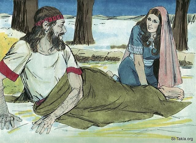 "St-Takla.org Image: During the night Boaz woke up to find a woman asleep at his feet. 'Who are you?' he asked. 'I am your servant Ruth,' she replied. Spread the corner of your garment over me as you are a guardian-redeemer of my family.' A guardian redeemer was someone obliged to look after a relative in need. Boaz was related to Noami's dead husband Elimelek. (Ruth 3: 6-9) - Ruth, Bible illustrations by James Padgett (1931-2009), published by Sweet Media صورة في موقع الأنبا تكلا: ""فنزلت إلى البيدر وعملت حسب كل ما أمرتها به حماتها. فأكل بوعز وشرب وطاب قلبه ودخل ليضطجع في طرف العرمة. فدخلت سرا وكشفت ناحية رجليه واضطجعت. وكان عند انتصاف الليل أن الرجل اضطرب، والتفت وإذا بامرأة مضطجعة عند رجليه. فقال: «من أنت؟» فقالت: «أنا راعوث أمتك. فابسط ذيل ثوبك على أمتك لأنك ولي»"" (راعوث 3: 6-9) - صور سفر راعوث، رسم جيمز بادجيت (1931-2009)، إصدار شركة سويت ميديا"