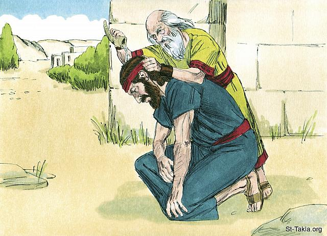 "St-Takla.org Image: When they were alone, Samuel took a flask of olive oil and poured it on Saul's head. 'Has not the Lord chosen you to be a ruler over His land?' Samuel asked. He then told Saul of three things that would happen to him. (1 Samuel 10: 1) - ""Samuel anoints Saul as king"" images set (1 Samuel 8: 1, 1 Samuel 10: 27): image (14) - 1 Samuel, Bible illustrations by James Padgett (1931-2009), published by Sweet Media صورة في موقع الأنبا تكلا: ""فأخذ صموئيل قنينة الدهن وصب على رأسه وقبله وقال: «أليس لأن الرب قد مسحك على ميراثه رئيسا؟"" (صموئيل الأول 10: 1)، وأخبره عن ثلاثة أمور تحدث له.. - مجموعة ""صموئيل يمسح شاول ملكًا"" (صموئيل الأول 8: 1, صموئيل الأول 10: 27) - صورة (14) - صور سفر صموئيل الأول، رسم جيمز بادجيت (1931-2009)، إصدار شركة سويت ميديا"