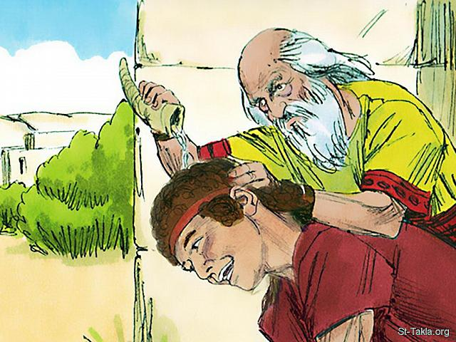 "St-Takla.org Image: Samuel took the olive oil and anointed David in front of his brothers. Immediately the spirit of the Lord took control of David and was with him from that day on. (1 Samuel 16: 13) - ""Samuel anoints David to be king"" images set (1 Samuel 16: 1-23): image (12) - 1 Samuel, Bible illustrations by James Padgett (1931-2009), published by Sweet Media صورة في موقع الأنبا تكلا: ""فأخذ صموئيل قرن الدهن ومسحه في وسط إخوته. وحل روح الرب على داود من ذلك اليوم فصاعدا"" (صموئيل الأول 16: 13) - مجموعة ""صموئيل يمسح داود ملكًا"" (صموئيل الأول 16: 1-23) - صورة (12) - صور سفر صموئيل الأول، رسم جيمز بادجيت (1931-2009)، إصدار شركة سويت ميديا"