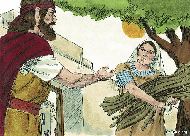 "St-Takla.org Image: He called to her and asked, 'Would you bring me some water in a jar to drink?' As she was going to get it, he called, 'And please bring me a piece of bread.' (1 Kings 17: 10-11) - ""Elijah and the widow of Zarephath"" images set (1 Kings 17:7-18:1): image (5) - 1 Kings, Bible illustrations by James Padgett (1931-2009), published by Sweet Media صورة في موقع الأنبا تكلا: ""وجاء إلى باب المدينة، وإذا بامرأة أرملة هناك تقش عيدانا، فناداها وقال: «هاتي لي قليل ماء في إناء فأشرب». وفيما هي ذاهبة لتأتي به، ناداها وقال: «هاتي لي كسرة خبز في يدك»"" (الملوك الأول 17: 10-11) - مجموعة ""إيليا وأرملة صرفة صيدا"" (ملوك الأول 17:7 - ملوك الأول 18: 1) - صورة (5) - صور سفر الملوك الأول، رسم جيمز بادجيت (1931-2009)، إصدار شركة سويت ميديا"