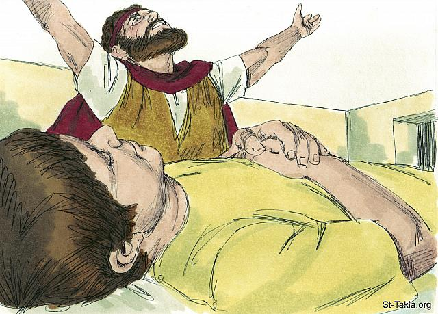 "St-Takla.org Image: 'Give me your son,' Elijah replied. He carried him to the upper room where he was staying, and laid him on his bed. Then he cried out in prayer, 'O Lord my God, why have you killed the son of this widow with whom I am staying?' (1 Kings 17: 19-20) - ""Elijah and the widow of Zarephath"" images set (1 Kings 17:7-18:1): image (11) - 1 Kings, Bible illustrations by James Padgett (1931-2009), published by Sweet Media صورة في موقع الأنبا تكلا: ""فقال لها: «أعطيني ابنك». وأخذه من حضنها وصعد به إلى العلية التي كان مقيما بها، وأضجعه على سريره، وصرخ إلى الرب وقال: «أيها الرب إلهي، أأيضا إلى الأرملة التي أنا نازل عندها قد أسأت بإماتتك ابنها؟»"" (الملوك الأول 17: 19-20) - مجموعة ""إيليا وأرملة صرفة صيدا"" (ملوك الأول 17:7 - ملوك الأول 18: 1) - صورة (11) - صور سفر الملوك الأول، رسم جيمز بادجيت (1931-2009)، إصدار شركة سويت ميديا"