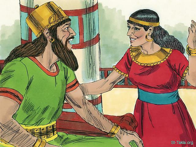 "St-Takla.org Image: A marriage was arranged between King Ahab's daughter Athaliah and Jehoshaphat's son Jehoram. (2 Chronicles 18: 1) - ""Jehoshaphat and Ahab ignore God's message"" images set (1 Kings 22:1-40, 2 Chronicles 18:1-34): image (2) - 1 Kings, Bible illustrations by James Padgett (1931-2009), published by Sweet Media صورة في موقع الأنبا تكلا: تزوج يهورام ابن يهوشافاط من عثليا ابنة آخاب: ""وكان ليهوشافاط غنى وكرامة بكثرة. وصاهر أخآب"" (أخبار أيام الثاني 18: 1) - مجموعة ""يهوشافاط وآخاب يتجاهلان رسالة الله"" (ملوك الأول 22: 1-40, أخبار الأيام الثاني 18: 1-34) - صورة (2) - صور سفر الملوك الأول، رسم جيمز بادجيت (1931-2009)، إصدار شركة سويت ميديا"