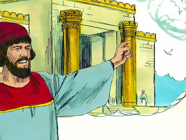 "St-Takla.org Image: Nehemiah knew that it was wrong for him to enter the Temple. 'Should I run away? Should I go into the temple to save my life? I will not go!' he insisted (Nehemiah 6: 11). - ""Overcoming opposition to rebuilding the walls of Jerusalem"" images set (Nehemiah 3-6): image (20) - Nehemiah, Bible illustrations by James Padgett (1931-2009), published by Sweet Media صورة في موقع الأنبا تكلا: ""فقلت: «أرجل مثلي يهرب؟ ومن مثلي يدخل الهيكل فيحيا؟ لا أدخل!»"" (نحميا 6: 11) - مجموعة ""مواجهة مقاومة الأعداء لبناء أسوار أورشليم"" (نحميا 3-6) - صورة (20) - صور سفر نحميا، رسم جيمز بادجيت (1931-2009)، إصدار شركة سويت ميديا"