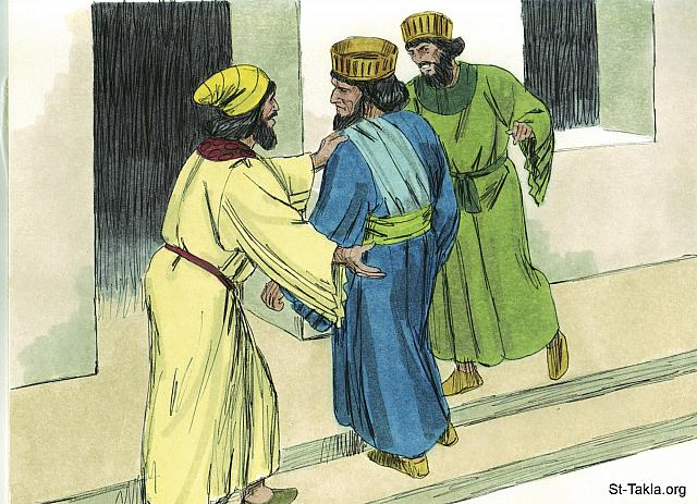 "St-Takla.org Image: They reported the matter to Haman who was furious to find Mordecai the Jew did not bow or revere him. (Esther 3: 4-5) - Esther, Bible illustrations by James Padgett (1931-2009), published by Sweet Media صورة في موقع الأنبا تكلا: ""أخبروا هامان ليروا هل يقوم كلام مردخاي، لأنه أخبرهم بأنه يهودي. ولما رأى هامان أن مردخاي لا يجثو ولا يسجد له، امتلأ هامان غضبا"" (أستير 3: 4-5) - صور سفر أستير، رسم جيمز بادجيت (1931-2009)، إصدار شركة سويت ميديا"