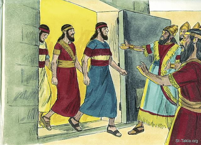 "St-Takla.org Image: So Nebuchadnezzar went up to the door of the blazing furnace and called out, 'Shadrach! Meshach! Abednego! Servants of the Supreme God! Come out!' And they came out at once. All the princes, governors, and other officials gathered to look at the three men, who had not been harmed by the fire. Their hair was not singed, their clothes were not burned, and there was no smell of smoke on them. (Daniel 3: 26-27) - ""Three men stand up for god"" images set (Daniel 3:1-30): image (10) - Daniel, Bible illustrations by James Padgett (1931-2009), published by Sweet Media صورة في موقع الأنبا تكلا: ""ثم اقترب نبوخذنصر إلى باب أتون النار المتقدة وأجاب، فقال: «يا شدرخ وميشخ وعبدنغو، يا عبيد الله العلي، اخرجوا وتعالوا». فخرج شدرخ وميشخ وعبدنغو من وسط النار. فاجتمعت المرازبة والشحن والولاة ومشيرو الملك ورأوا هؤلاء الرجال الذين لم تكن للنار قوة على أجسامهم، وشعرة من رؤوسهم لم تحترق، وسراويلهم لم تتغير، ورائحة النار لم تأت عليهم"" (دانيال 3: 26-27) - مجموعة ""الثلاثة فتية يشهدون لله"" (دانيال 3: 1-30) - صورة (10) - صور سفر دانيال، رسم جيمز بادجيت (1931-2009)، إصدار شركة سويت ميديا"