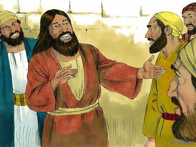 "St-Takla.org Image: The man went round the whole region telling others what Jesus had done for him. And everyone was amazed. (Mark 5: 20) (Luke 8: 39) - ""Jesus changes a troubled man"" images set (Matthew 8:28-34, Mark 5:5-20, Luke 8:26-39): image (12) - The Gospels, Bible illustrations by James Padgett (1931-2009), published by Sweet Media صورة في موقع الأنبا تكلا: ""فمضى وابتدأ ينادي في العشر المدن كم صنع به يسوع. فتعجب الجميع"" (مرقس 5: 20) - ""فمضى وهو ينادي في المدينة كلها بكم صنع به يسوع"" (لوقا 8: 39) - مجموعة ""يسوع يشفي المجنون"" (متى 8: 28-34, مرقس 5: 5-20, لوقا 8: 26-39) - صورة (12) - صور الأناجيل الأربعة، رسم جيمز بادجيت (1931-2009)، إصدار شركة سويت ميديا"