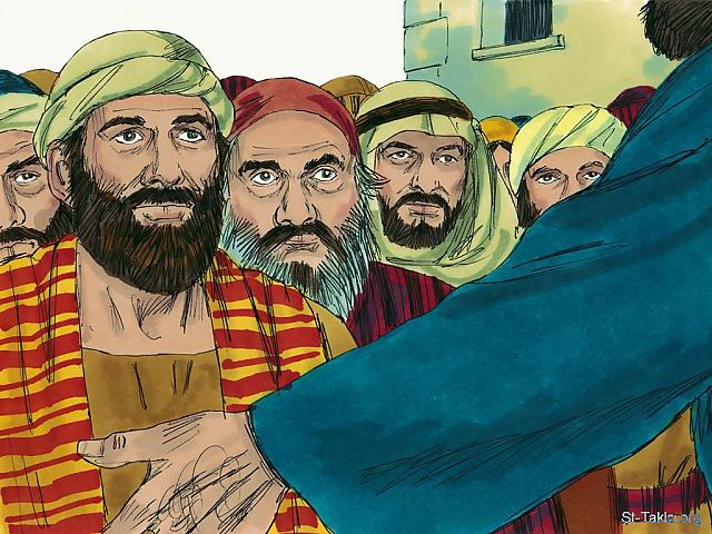 "St-Takla.org Image: The disciples then went out in pairs to the nearby towns and villages, preaching that people needed to repent. (Mark 6: 12) (Luke 9: 6) - ""Jesus sends out His disciples"" images set (Matthew 10:1-42, Mark 6:7-31, Luke 9:1-10): image (21) - The Gospels, Bible illustrations by James Padgett (1931-2009), published by Sweet Media صورة في موقع الأنبا تكلا: ""فخرجوا وصاروا يكرزون أن يتوبوا"" (مرقس 6: 12) - ""فلما خرجوا كانوا يجتازون في كل قرية يبشرون"" (لوقا 9: 6) - مجموعة ""يسوع يرسل تلاميذه"" (متى 10: 1-42, مرقس 6: 7-31, لوقا 9: 1-10) - صورة (21) - صور الأناجيل الأربعة، رسم جيمز بادجيت (1931-2009)، إصدار شركة سويت ميديا"