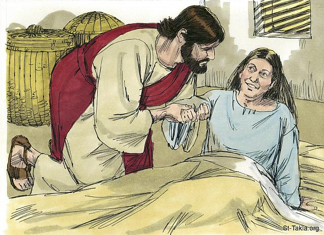 "St-Takla.org Image: Jesus bent over her and rebuked the fever, and it left her. She got up at once and prepared a meal for them all. (Mark 1: 31) (Matthew 8: 15) (Luke 4: 39) - ""Jesus delivers and heals in Capernaum"" images set (Matthew 8:14-17, Mark 1:21-39, Luke 4:31-44): image (8) - The Gospels, Bible illustrations by James Padgett (1931-2009), published by Sweet Media صورة في موقع الأنبا تكلا: ""فتقدم وأقامها ماسكا بيدها، فتركتها الحمى حالا وصارت تخدمهم"" (مرقس 1: 31) - ""فلمس يدها فتركتها الحمى، فقامت وخدمتهم"" (متى 8: 15) - ""فوقف فوقها وانتهر الحمى فتركتها! وفي الحال قامت وصارت تخدمهم"" (لوقا 4: 39) - مجموعة ""المسيح يخلص ويشفي في كفرناحوم"" (متى 8: 14-17, مرقس 1: 21-39, لوقا 4: 31-44) - صورة (8) - صور الأناجيل الأربعة، رسم جيمز بادجيت (1931-2009)، إصدار شركة سويت ميديا"