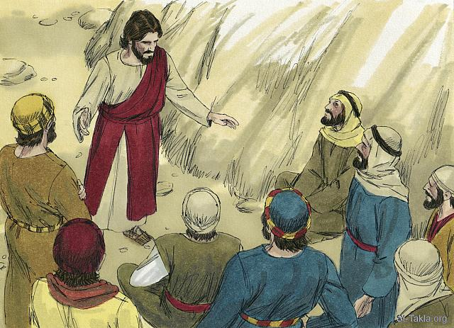 "St-Takla.org Image: ""Then He charged them, saying, ""Take heed, beware of the leaven of the Pharisees and the leaven of Herod."" And they reasoned among themselves, saying, ""It is because we have no bread."" But Jesus, being aware of it, said to them, ""Why do you reason because you have no bread? Do you not yet perceive nor understand? Is your heart still hardened? Having eyes, do you not see? And having ears, do you not hear? And do you not remember? When I broke the five loaves for the five thousand, how many baskets full of fragments did you take up?"" They said to Him, ""Twelve."" ""Also, when I broke the seven for the four thousand, how many large baskets full of fragments did you take up?"" And they said, ""Seven."" So He said to them, ""How is it you do not understand?"""" (Mark 8: 15-21) - Mark, Bible illustrations by James Padgett (1931-2009), published by Sweet Media صورة في موقع الأنبا تكلا: ""وأوصاهم قائلا: «انظروا! وتحرزوا من خمير الفريسيين وخمير هيرودس» ففكروا قائلين بعضهم لبعض: «ليس عندنا خبز». فعلم يسوع وقال لهم: «لماذا تفكرون أن ليس عندكم خبز؟ ألا تشعرون بعد ولا تفهمون؟ أحتى الآن قلوبكم غليظة؟ ألكم أعين ولا تبصرون، ولكم آذان ولا تسمعون، ولا تذكرون؟ حين كسرت الأرغفة الخمسة للخمسة الآلاف، كم قفة مملوة كسرا رفعتم؟» قالوا له: «اثنتي عشرة». «وحين السبعة للأربعة الآلاف، كم سل كسر مملوا رفعتم؟» قالوا: «سبعة». فقال لهم: «كيف لا تفهمون؟»"" (مرقس 8: 15-21) - صور إنجيل مرقس، رسم جيمز بادجيت (1931-2009)، إصدار شركة سويت ميديا"