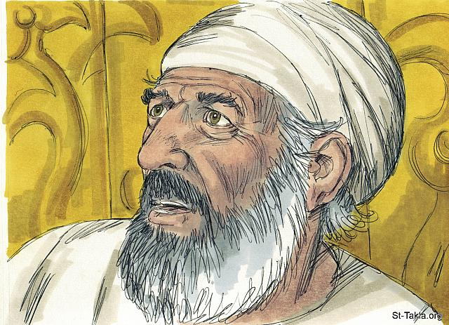 "St-Takla.org Image: 'How can I be sure this will happen?' asked Zechariah. 'I'm an old man, and my wife is also old.' 'I am Gabriel and stand in the very presence of God,' the angel said, 'God sent me to bring you this good news! But since you didn't believe what I said, you will be unable to speak until the child is born.' (Luke 1: 18-20) - ""The birth of John the Baptist"" images set (Luke 1:5-25, Luke 1:57-80): image (5) - The Gospels, Bible illustrations by James Padgett (1931-2009), published by Sweet Media صورة في موقع الأنبا تكلا: ""فقال زكريا للملاك: «كيف أعلم هذا، لأني أنا شيخ وامرأتي متقدمة في أيامها؟» فأجاب الملاك وقال له: «أنا جبرائيل الواقف قدام الله، وأرسلت لأكلمك وأبشرك بهذا. وها أنت تكون صامتا ولا تقدر أن تتكلم، إلى اليوم الذي يكون فيه هذا، لأنك لم تصدق كلامي الذي سيتم في وقته»"" (لوقا 1: 18-20) - مجموعة ""ميلاد يوحنا المعمدان"" (لوقا 1: 5-25, لوقا 1: 57-80) - صورة (5) - صور الأناجيل الأربعة، رسم جيمز بادجيت (1931-2009)، إصدار شركة سويت ميديا"